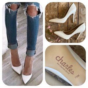 Charles David Trendy White High Heel Pumps